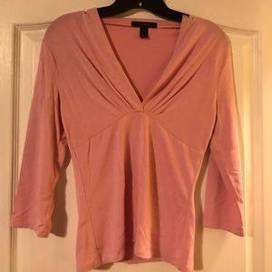 Pinkish v-neck 3 quarter inch sleeves in size S.